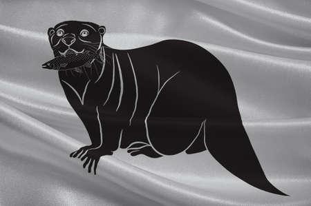 Flag of Harnosand in Vasternorrland County, Sweden. 3d illustration Stock Photo