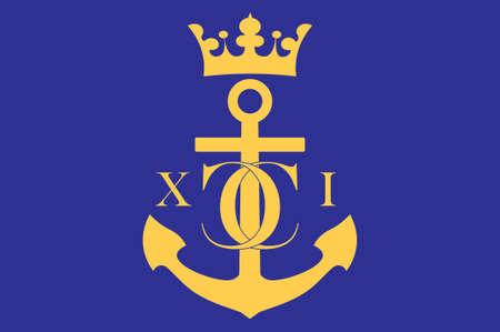 Flag of Karlskrona is a capital city of Blekinge County, Sweden. 3d illustration