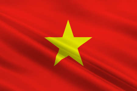 Flag of Vietnam officially the Socialist Republic of Vietnam. 3D illustration