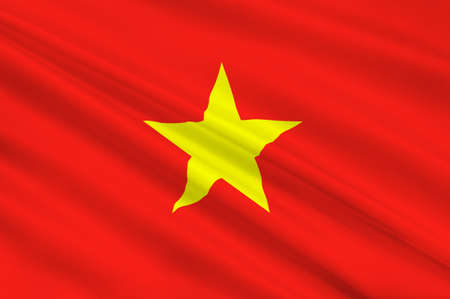 Flag of Vietnam officially the Socialist Republic of Vietnam. 3D illustration Stock Illustration - 93386493