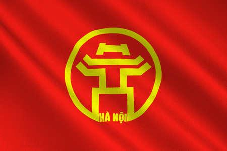 ハノイの旗はベトナム、国の二番目に大きい都市の首都です。3 D イラストレーション