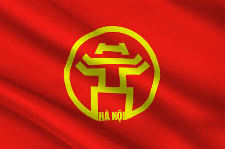 Flag of Hanoi is the capital of Vietnam and the country second largest city. 3D illustration Stock Illustration - 93386163