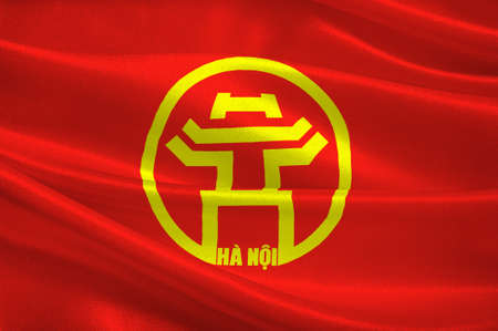 Flag of Hanoi is the capital of Vietnam and the country second largest city. 3D illustration