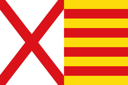 Flag of LHospitalet de Llobregat is a municipality to the immediate southwest of Barcelona in Catalonia, Spain. 3d illustration Stock Photo