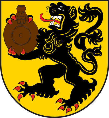 Coat of arms of Frechen is a town in the Rhein-Erft-Kreis, in North Rhine-Westphalia, Germany. Vector illustration Illustration