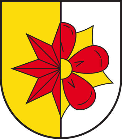 Coat of arms of Barntrup is a town in the Lippe district of North Rhine-Westphalia, Germany. Vector illustration
