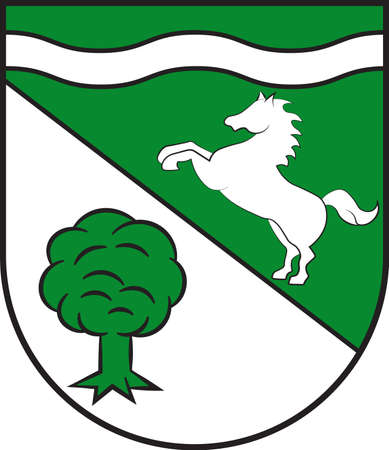 Coat of arms of Herzebrock-Clarholz is a town in the district of Guetersloh in the state of North Rhine-Westphalia, Germany. Vector illustration