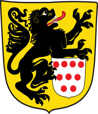Coat of arms of Monschau is a small resort town in the Eifel region of North Rhine-Westphalia, Germany. Vector illustration