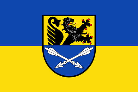 Flag of Baesweiler is a municipality in the district of Aachen, North Rhine-Westphalia, Germany. Illustration