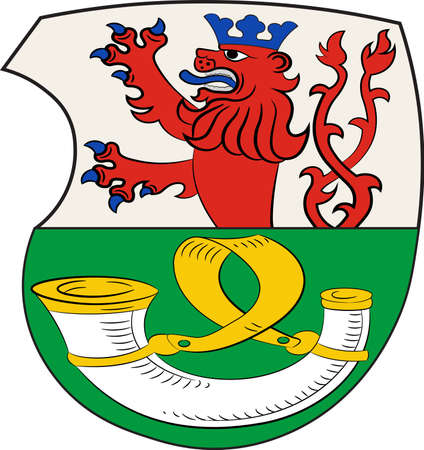 Coat of arms of Roesrath is a city in the Rheinisch-Bergischer district in North Rhine-Westphalia, Germany. Vector illustration