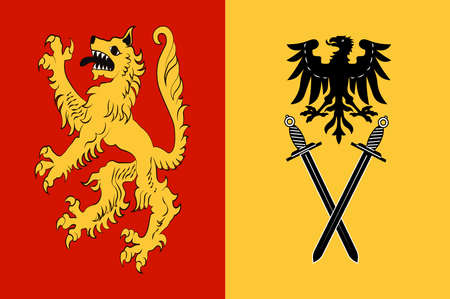 Flag of Welver is a municipality in the district of Soest, in North Rhine-Westphalia, Germany. Vector illustration