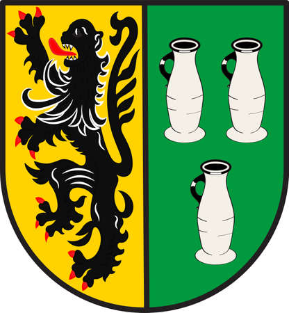 Coat of arms of Langerwehe is a municipality in the district of Dueren in the state of North Rhine-Westphalia, Germany. Vector illustration