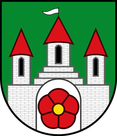 Coat of arms of Blomberg is a town in the Lippe district of North Rhine-Westphalia, Germany. Vector illustration Illustration