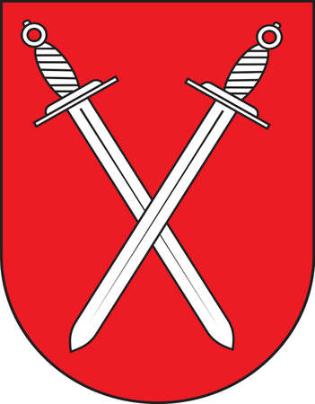 Coat of arms of Schwerte is a town in the district of Unna, in North Rhine-Westphalia, Germany. Vector illustration.