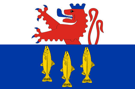 Flag of Neunkirchen-Seelscheid is a municipality in the Rhein-Sieg district in the southern part of North Rhine-Westphalia, Germany. Vector illustration