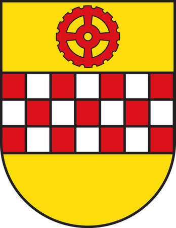 Coat of arms of Kamen is a town in North Rhine-Westphalia, Germany, in the district Unna. Vector illustration.