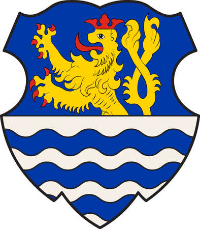 Coat of arms of Wegberg is the northernmost town in the district of Heinsberg in North Rhine-Westphalia, Germany. Vector illustration