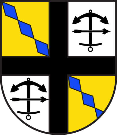 Coat of arms of Drolshagen is a town belonging to the district of Olpe in the Regierungsbezirk of Arnsberg in North Rhine-Westphalia, Germany. Vector illustration