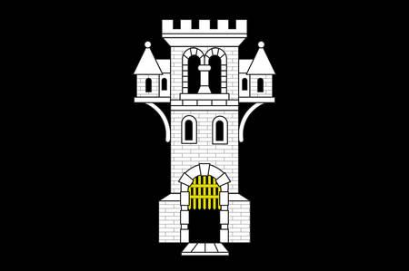 Flag of Menden is a town in the district Maerkischer Kreis, in North Rhine-Westphalia, Germany. Vector illustration