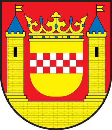 Coat of arms of Plettenberg is a town in the Maerkischer Kreis, in North Rhine-Westphalia, Germany. Vector illustration