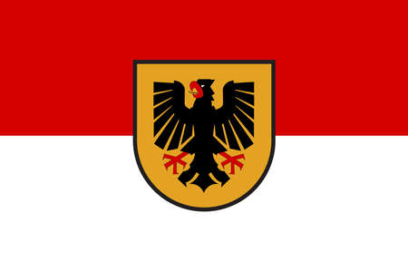 Flag of Dortmund is an independent city in North Rhine-Westphalia, Germany. Vector illustration