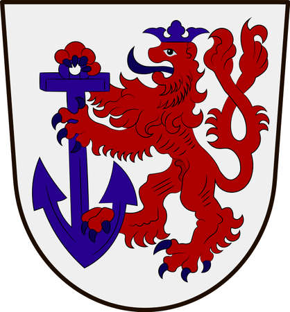 Coat of arms of Duesseldorf is the capital city of North Rhine-Westphalia in Germany. Vector illustration