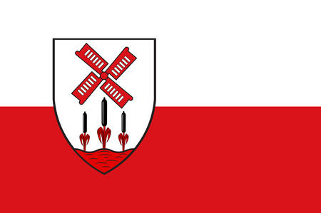 Flag of Hille is a community in the Kreis Minden-Luebbecke in the north of East Westphalia, Germany. Vector illustration