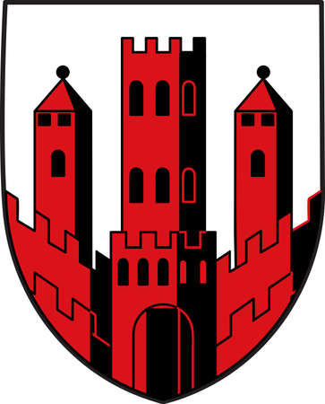 Coat of arms of Dinslaken is a town in the district of Wesel, in North Rhine-Westphalia, Germany. Vector illustration