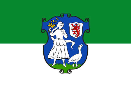 Flag of Monheim is a town on the eastern bank of the river Rhine in North Rhine-Westphalia, Germany. Vector illustration