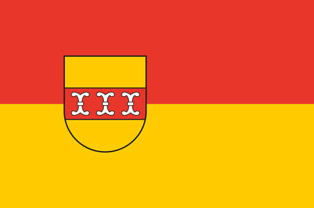 Flag of Borken is a district in the northwestern part of North Rhine-Westphalia, Germany in the Muenster region. Vector illustration