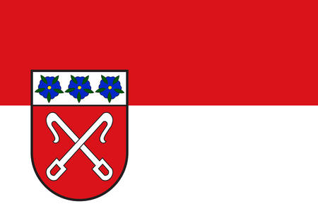 Flag of Rahden is a town in the far north of North Rhine-Westphalia, Germany. Vector illustration Çizim