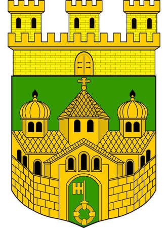 Coat of arms of Recklinghausen is the northernmost city in the Ruhr-Area and the capital of the Recklinghausen district. Vector illustration