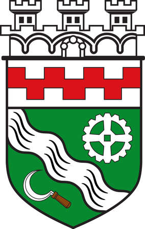 Coat of arms of Hilden is a city in North Rhine-Westphalia of Germany. Vector illustration Illustration