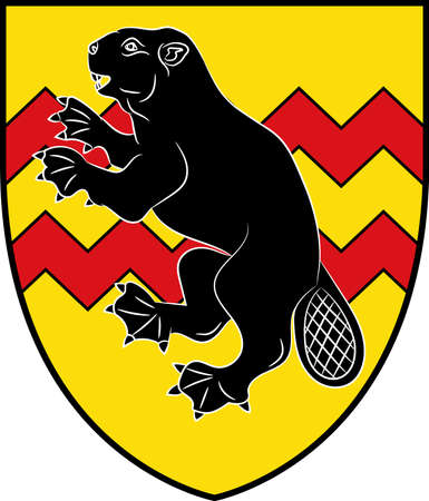 Coat of arms of Ostbevern is a municipality in the district of Warendorf, in North Rhine-Westphalia, Germany. Vector illustration