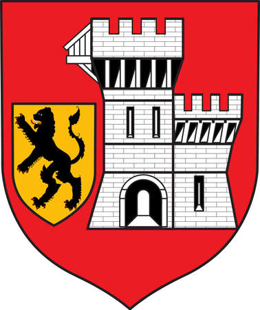 Coat of arms of Grevenbroich is a town in the Rhein-Kreis Neuss, in North Rhine-Westphalia, Germany. Vector illustration Illustration