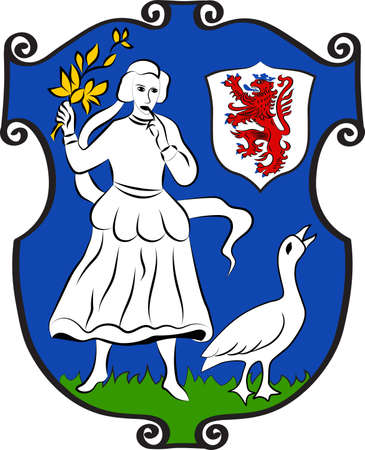 Coat of arms of Monheim is a town on the eastern bank of the river Rhine in North Rhine-Westphalia, Germany. Vector illustration