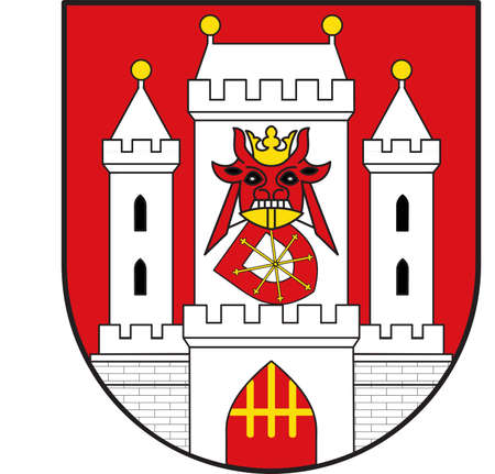 Coat of arms of Uedem is a municipality in the district of Cleves, in North Rhine-Westphalia, Germany. Vector illustration Illustration