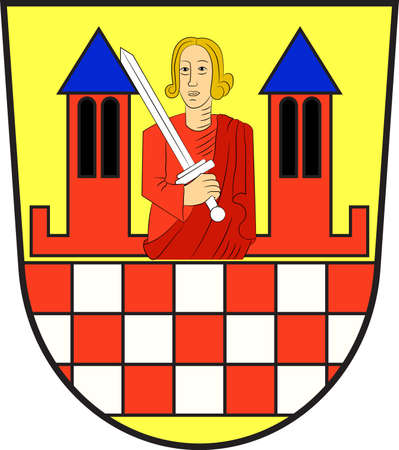 Coat of arms of Iserlohn is a city in the Maerkischer district, in North Rhine-Westphalia, Germany. Vector illustration Illustration