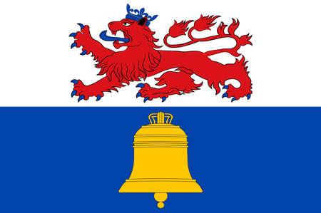 Flag of Overath is a town in the Rheinisch-Bergischer district, in North Rhine-Westphalia, Germany. Vector illustration Illustration
