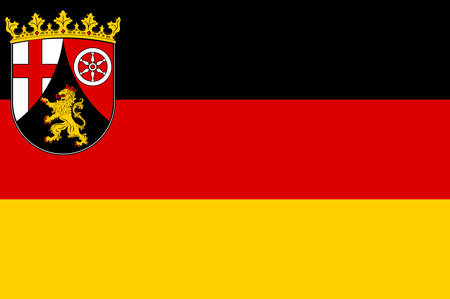 Flag of Rhineland-Palatinate is one of the 16 states of the Federal Republic of Germany. Vector illustration