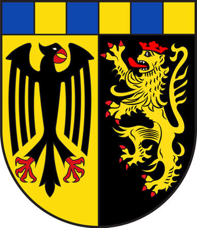 Coat of arms of Rhein-Hunsrueck-Kreis is a district in the middle of Rhineland-Palatinate, Germany. Vector illustration Illustration