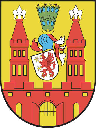 Coat of arms of Demmin is a town in the Mecklenburgische Seenplatte district, Mecklenburg-Western Pomerania, Germany. Vector illustration