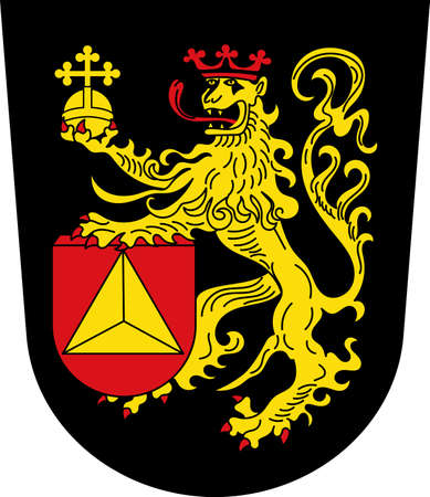 Coat of arms of Frankenthal is a town in southwestern Germany, in the state of Rhineland-Palatinate. Vector illustration