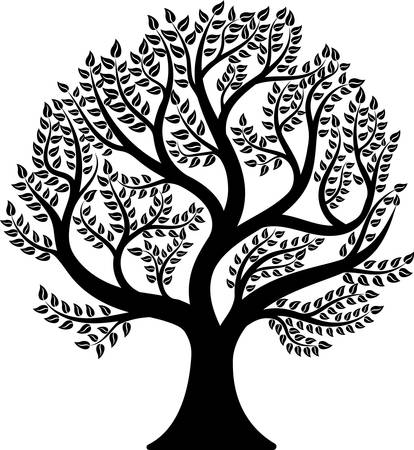 Tree isolated on white background. Vector illustration Ilustracja