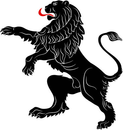 The rebels lion - the heraldic symbol used in the flags and coats of arms. Vector illustration
