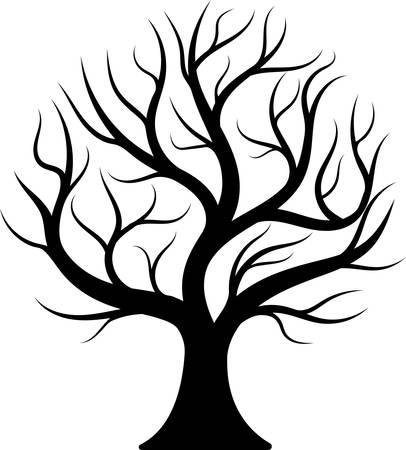 Black silhouette bare tree.