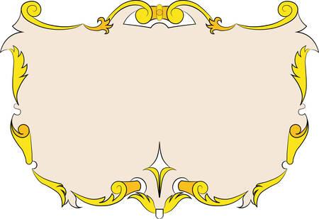 Heraldic vintage frame, banner. Illustration