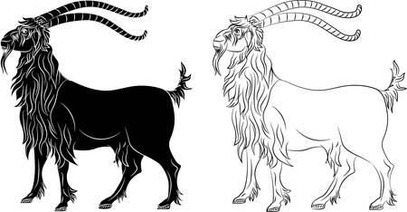 Mountain goat capra - black silhouette and outline. Vector illustration