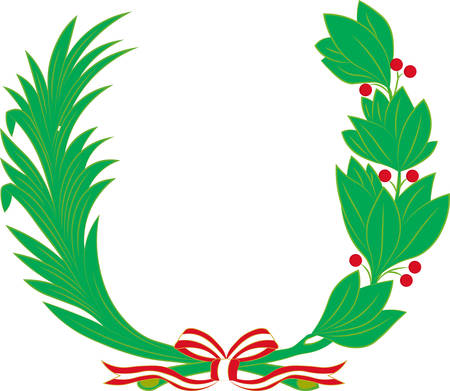 Laurel and palm tree wreath - symbol of victory and achievement. Design element for construction of medals, awards, coat of arms or anniversary logo. Vector illustration