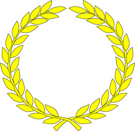 Yellow wreath - symbol of victory and achievement. Vector illustration